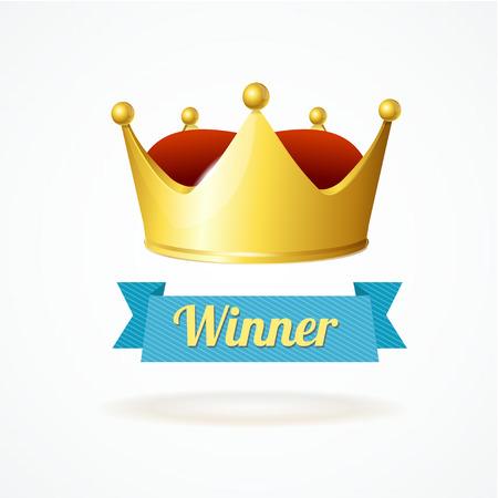 corona de reina: Ilustraci�n del vector. Corona del rey del oro aislado en un fondo blanco. Ganador Simpol Vectores