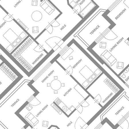 lijntekening: Vector illustratie. Meubilair architect plannen achtergrond. Flat Design Stock Illustratie