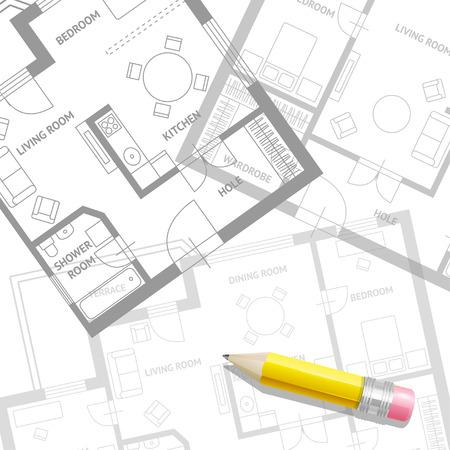 arquitecto: Ilustración del vector. Plan del arquitecto muebles con un fondo lápiz. Diseño plana