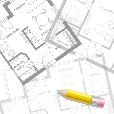 architect: Vector illustration. Furniture architect plan with a pencil background. Flat Design