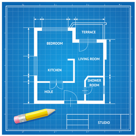 floorplan: Vector illustration. Furniture architect blueprint with a pencil background. white on blue. Flat Design Illustration