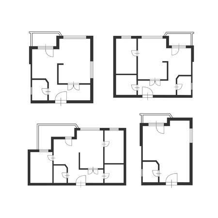 arquitecto: Ilustración del vector. Muebles plan del arquitecto de la construcción de conjunto. Diseño plana Vectores