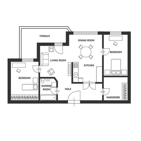 plan maison: Vector illustration. Plan-de-chauss�e architecte noir et blanc avec un mobilier. Design plat Illustration