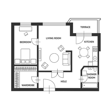 floorplan: Vector illustration. Architect plan of house with a furniture. Flat Design