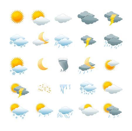 climas: Ilustración vectorial el tiempo establecido icono aislado en un fondo blanco. el concepto de cambio de tiempo