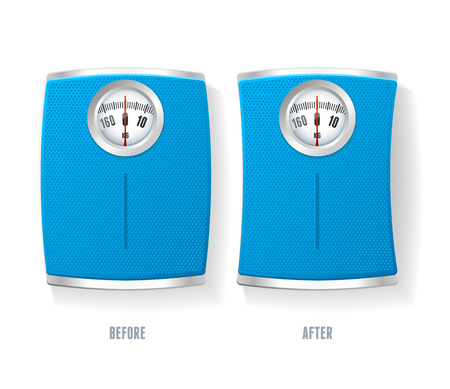 analog weight scale: Vector illustration Blue Bathroom Scale set isolated on a white background.