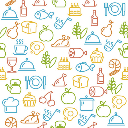 Vector illustration Cooking Concept Colorful Outline isolated on a white background. Vector