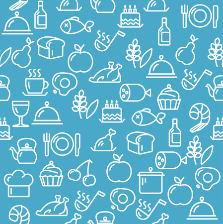 Vector illustration Cooking Concept white Outline isolated on a blue background. Vector