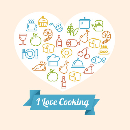 Vector illustration cooking outline colorful concept with space for header. Heart shape Vector