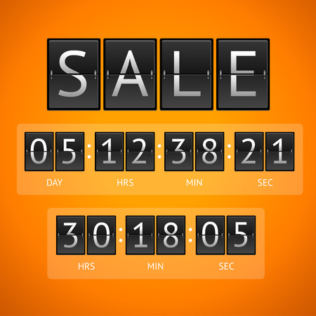 indicator board: Vector illustration. Mechanical timtable sale. The concept of the countdown isolated on a orange background. Illustration