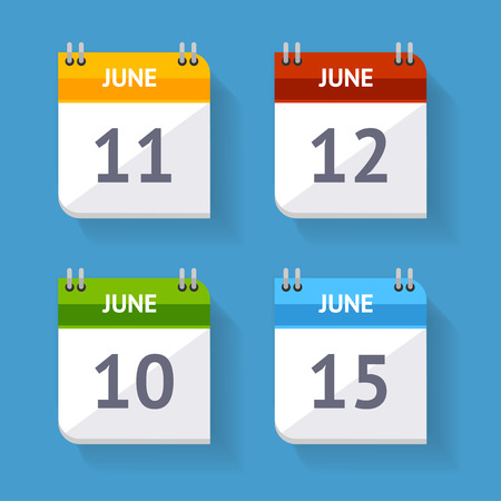 Vector illustration Calendar Icon set isolated on a blue background. Flat Design