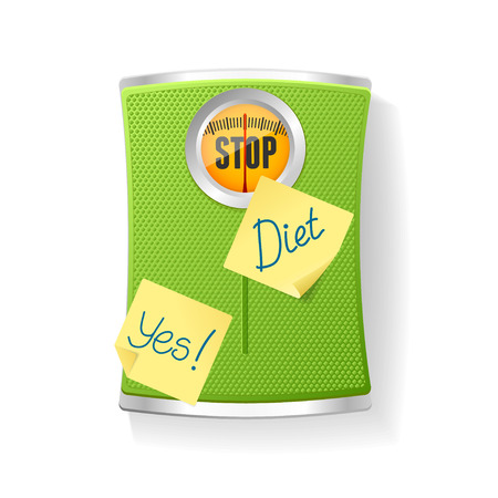 weight control: Vector illustration Green Bathroom Scale isolated on a white background. The concept of weight loss and diet Illustration