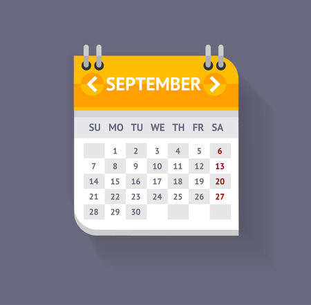 ベクトル イラスト カレンダー 9 月灰色の背景上に分離。フラットなデザイン