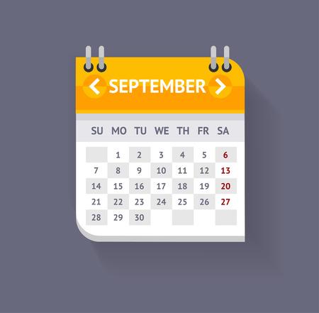 Vector illustratie Kalender september geïsoleerd op een grijze achtergrond. Flat Design Stock Illustratie
