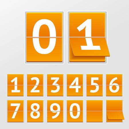 Ilustración vectorial calendario mecánico números blancos sobre tablas de color naranja aislada sobre un fondo gris.