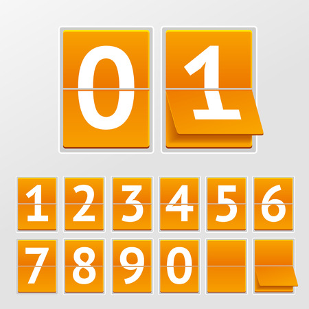time account: Vector illustration mechanical timetable White numbers on orange boards isolated on a grey background.