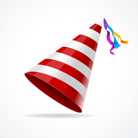 Vector striped party hat isolated on a white background. Иллюстрация