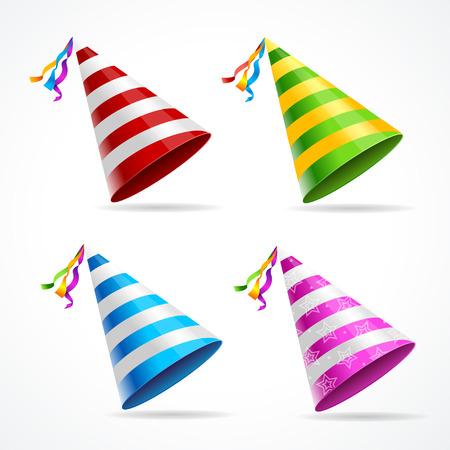 birretes: Vector sombrero de fiesta conjunto aislado en un fondo blanco.