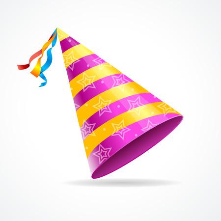Vector partij hoed geïsoleerd op een witte achtergrond. het symbool van de vakantie Stock Illustratie