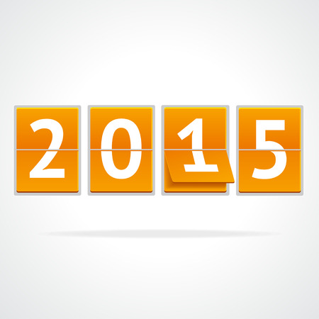time account: Vector illustration mechanical timetable White Year on orange boards isolated on a grey background.