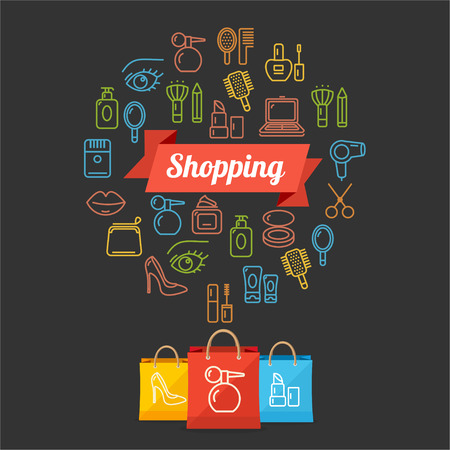 choices: Vector illustration beauty shoppinng concept card  isolated on a black background
