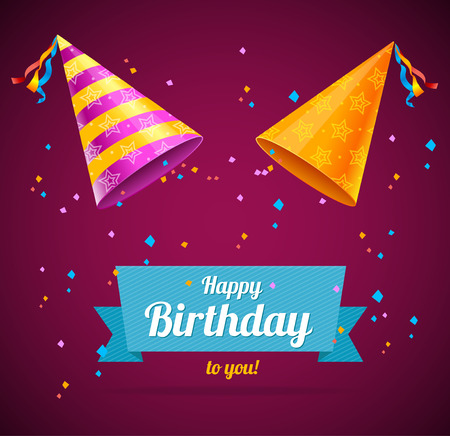 hat: Vector Birthay Card with two party hats and space for text Illustration