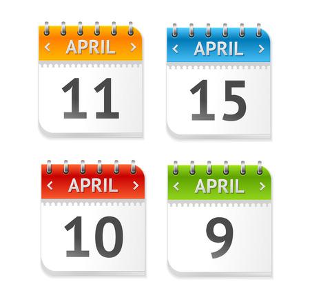 Vector illustratie kalender april met data set geïsoleerd op een witte achtergrond. Flat Design