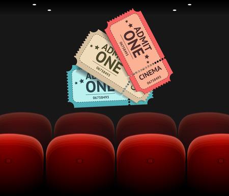 pelicula cine: Vector Cine Concepto, asientos y billetes aislados sobre fondo negro Vectores