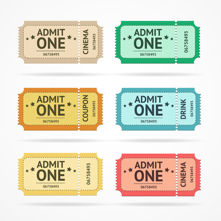 admit one: Vector illustration color ticket set  isolated on a white background.