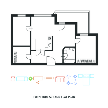 Vector illustration.  Architect plan Black and White  of building  with a furniture. Flat Design