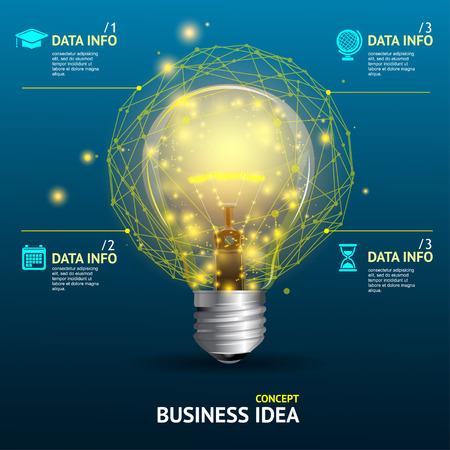 energia electrica: Vector ilustraci�n de idea de negocio concepto, l�mpara iluminada Vectores