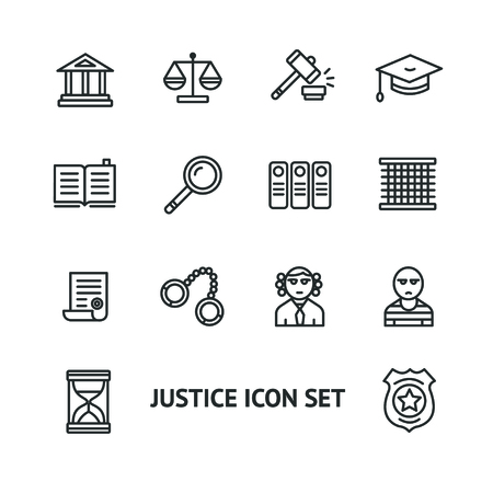 detainee: Vector illustration justice law outline icon set. Black and White. The concept of justice