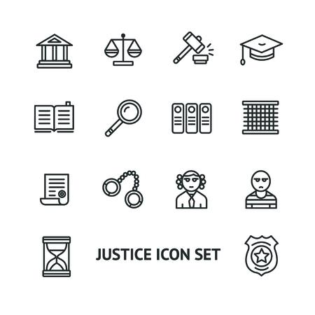 justicia: Vector ilustración de la justicia icono contorno ley establece. Blanco y Negro. El concepto de justicia