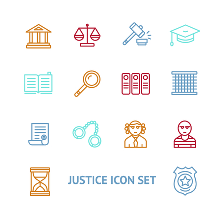 Vector illustration  justice law colorful outline icon set   The concept of justice Illustration