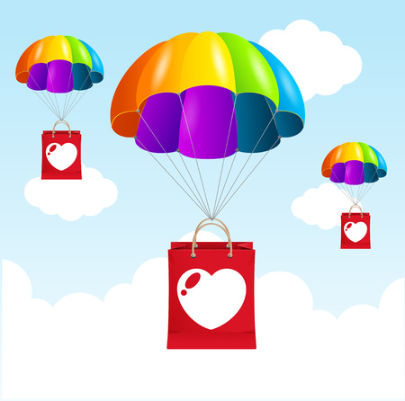 Vector illustration rainbow parachute love concept. Happy together Vector