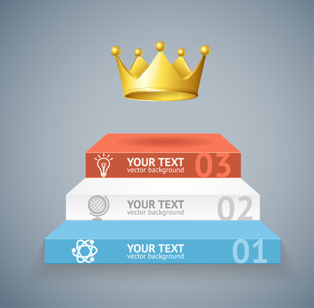 level: Vector illustration stairs and crown isolated on grey background option banner