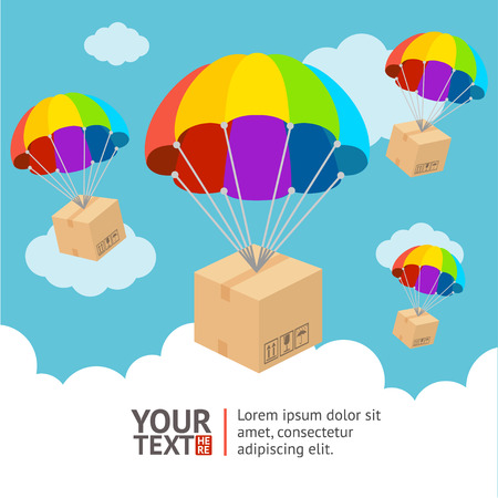 Vector illustration. Parachute with sending and clouds card