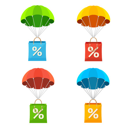 Vector illustration colorful parachute with paper bag sale icon set.
