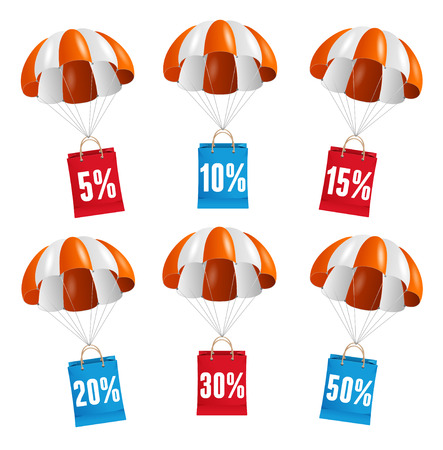 fallschirm: Vector illustration Fliegen roten und wei�en Fallschirm mit Papiert�te Verkauf Karte. Illustration
