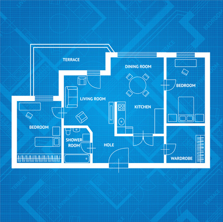 Vector illustration plan d'impression bleue. Design plat Illustration