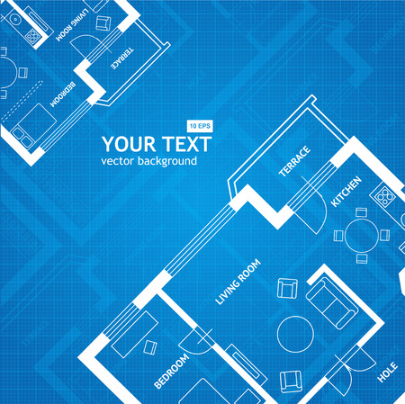 Vector illustration plan blue print with space for your text. Flat Design. Architectural background