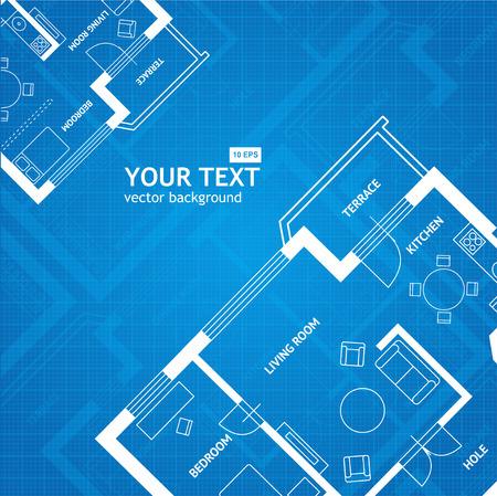 Vector illustration régime imprimé bleu avec un espace pour votre texte. Design plat. Architectural background Vecteurs