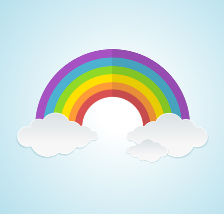 sky clouds: Vector illustration rainbow and clouds in the sky