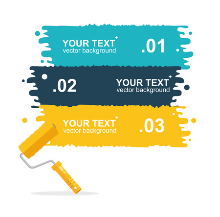 rollerbrush: Vector illustration set horizontal, colorful roller brushes background for text isolated. options banner