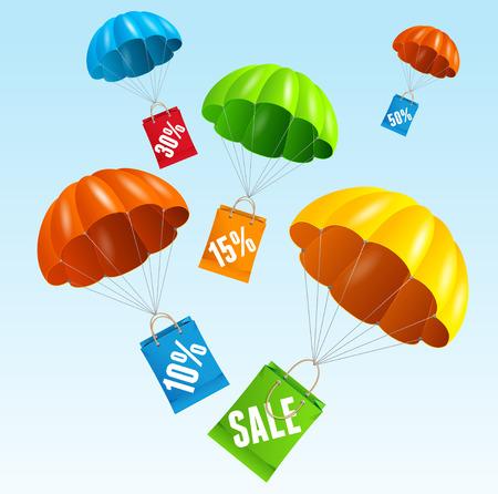 Vector illustration parachute avec un sac de papier vente dans le ciel. Le concept de ventes saisonnières. Design plat