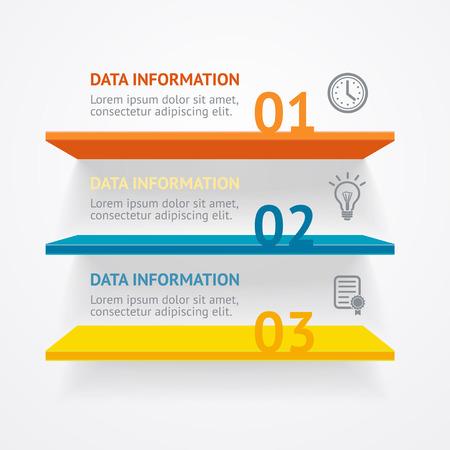 emplate: Vector illustration. Infografic colorful shelves options banner.