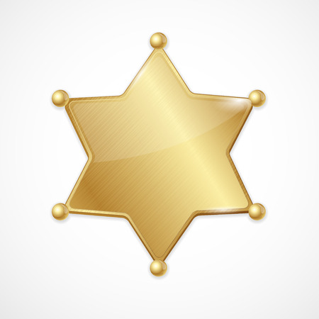 deputy sheriff: Vector illustration golden sheriff badge star  blank