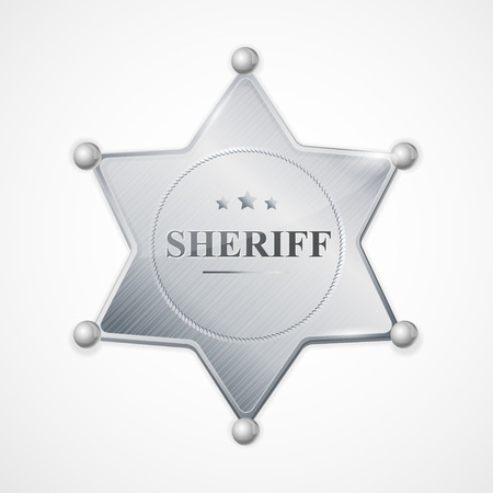 badge vector: Vector illustration silver sheriff badge star with the inscription