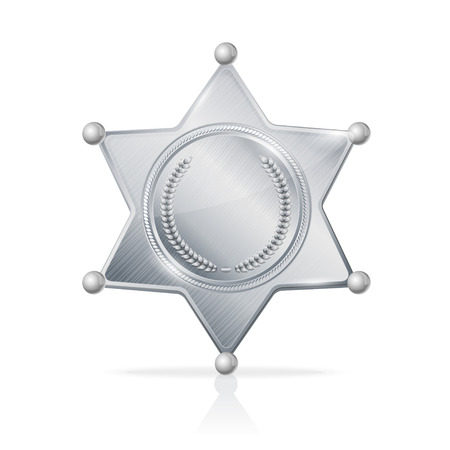 shiny argent: Vector illustration silvery sheriff badge star empty