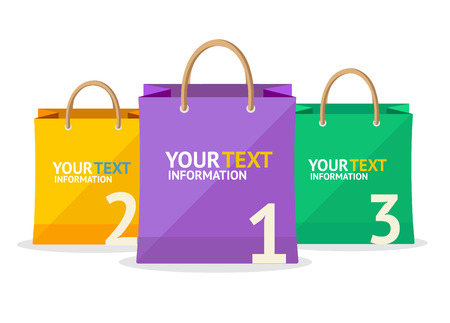 options: Vector illustration colorful paper bag sale option banner  isolated on white background.